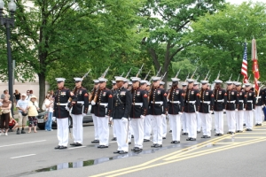 Column of Honor Guards of the U.S. Marine Corps in National Memorial Day Parade May 25, 2009 in Washington, D.C. Photo credit: ID 9550915 © Khabar | Dreamstime.com